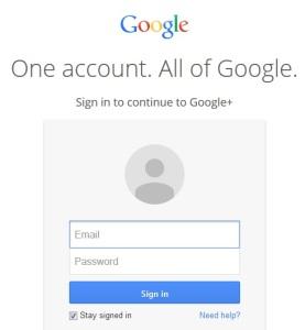 Google+ Login Page