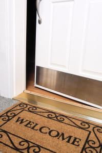 front door open welcome mat